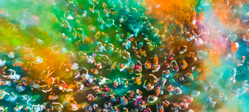 Crowd of people at the Holi Festival