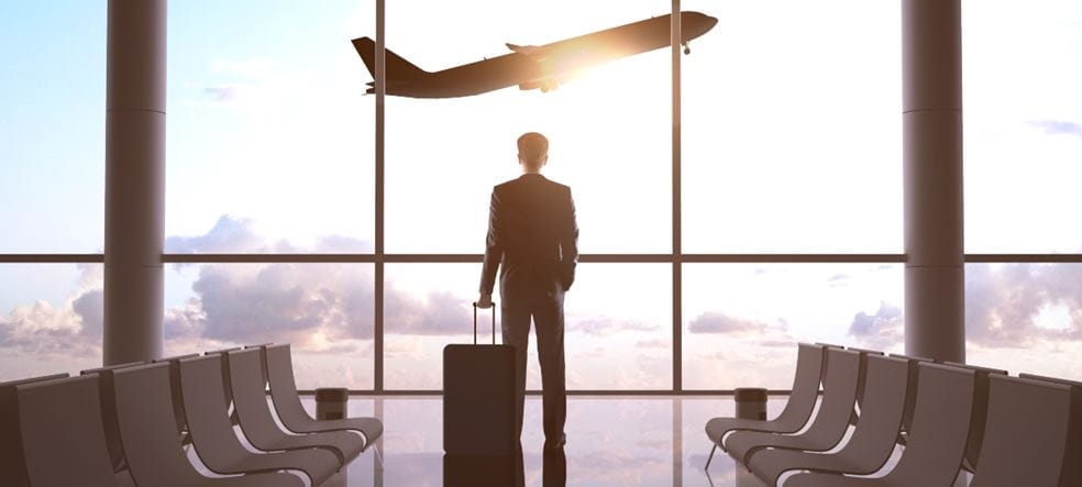Businessman, expat in airport and airplane in sky