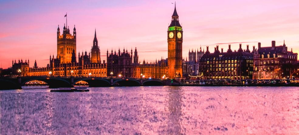 London Big Ben, House of Parliament and Thames river at sunset