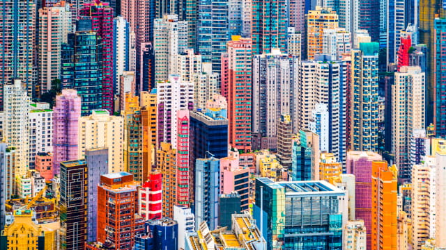 Hong Kong, China dense cityscape of office buildings