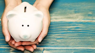 Piggy bank state aid help savings
