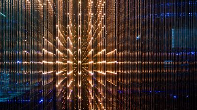 Closeup matrix screen white LED lights